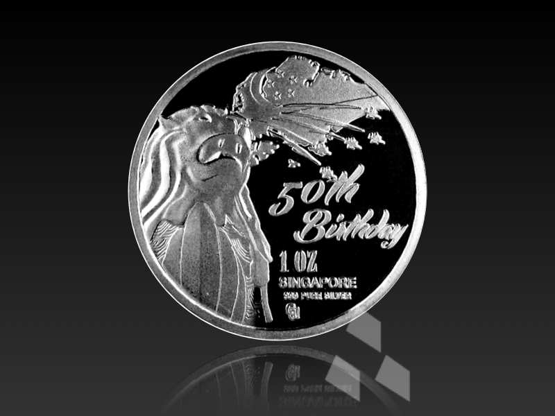 Happy 50th Birthday Singapore Pure Silver Coin Silverag